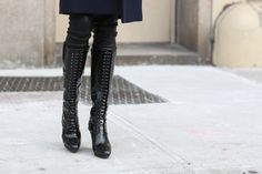 30+ Drop-Dead-Gorgeous Shoes Spotted In New York City #refinery29  http://www.refinery29.com/2015/02/82248/best-fashion-week-2015-shoes#slide-29  Lace it all the way up.