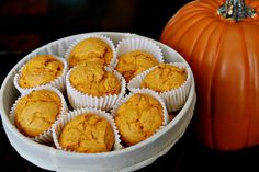 I love these muffins! Just canned pumpkin and spice cake mix. Easy and delicious! 2 Ingredient Pumpkin Muffins, Pumpkin Muffin Recipes, Yummy Treats, Delicious Desserts, Sweet Treats, My Recipes, Dessert Recipes, Favorite Recipes, Spice Cake Mix