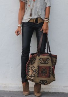 black jeans, oversized purse