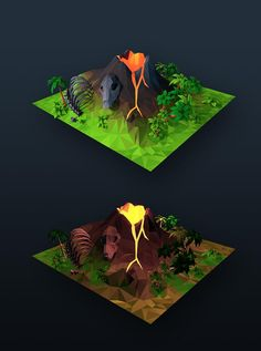 Some more #lowpoly assets to join the tropical island. Sooooon (-, – )…zzzZZZ #gamedev #indiedev