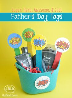Dress up your Father's Day gift with these Super Dad Printable tags @clubchicacircle