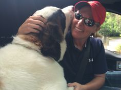Brooke- golf pro and miracle maker of the Ronald McDonald House meets Sinclair the Sober Dog. Kisses for his crush!!!