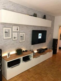 Pin von Léa Sebag auf Intérieur – Eva Kudziova - Home Accents living room Living Room Tv Unit, Home Living Room, Apartment Living, Living Room Designs, Ikea Living Room Furniture, Living Room Ideas With Tv On Wall, Tv On The Wall Ideas, Kitchen Living Rooms, Living Room Brick Wall