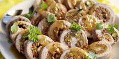 Boodschappen - Schnitzel gevuld met gehakt en pistachenootjes Meat Chickens, Fish Recipes, Baked Potato, Sushi, Shrimp, Sausage, Pork, Potatoes, Cooking Recipes
