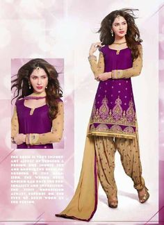 Smashing Purple & Cream Shantoon Based #Salwar #Suit With Resham Work #salwarkameez #ethnicwear #womenapparel #womendresses