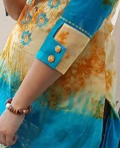 Kurti Sleeves Design, Sleeves Designs For Dresses, Dress Neck Designs, Fancy Blouse Designs, Stylish Dress Designs, Sleeve Designs, Simple Kurta Designs, Kurta Designs Women, Churidar Neck Designs