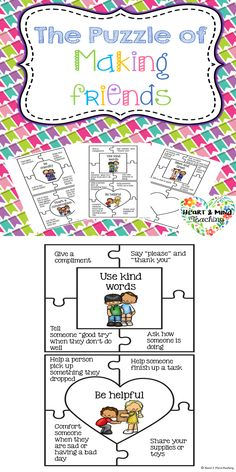 Students will work together to put puzzle pieces together which show ways to make friends. Great for students who are struggling to make and keep friends, social skills, Social emotional learning.