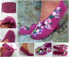 Knitted Lilac Home Slippers!