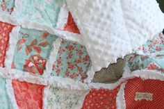 Custom for Katie, Baby Girl Rag Quilt and Raggy pillow cover Coral Aqua Grey Nursery Ready to Ship