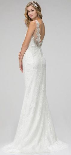 BB1085 in store. Elegant sheath in full lace. Illusion neckline with low V in back. Intricate beadwork. All our new wedding gowns sell for under $999.00 and are available for hire too. Come and visit us in our new improved store in Albany Village on Auckland's North Shore. Take a look at more options:http://bridalandball.co.nz/wedding-gowns/