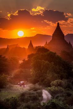 Riding Off - Sunset from the top of Shwesandaw Temple in Bagan, Myanmar