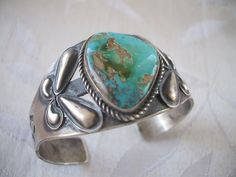 PRIVATE COLLECTION: Vintage Signed KIRK SMITH Hand Stamped Sterling Silver & Turquoise Cuff BRACELET. Turquoise Cuff, Vintage Turquoise, Turquoise Jewelry, Turquoise Bracelet, Silver Jewelry, Navajo Jewelry, Silver Cuff, Sterling Silver, American Indian Jewelry