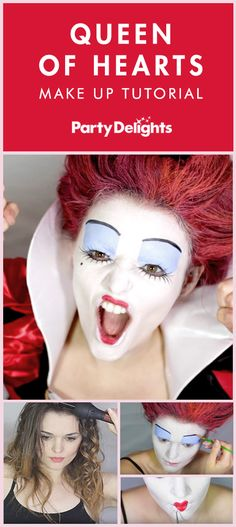 Easy Queen of Hearts Make-Up Tutorial Whether you're looking for Halloween costume ideas or Worl Red Queen Makeup, Queen Of Hearts Makeup, Queen Of Hearts Alice, Queen Of Hearts Fancy Dress, Red Hair Costume, Red Queen Costume, Queen Of Hearts Costume, Red Hair Halloween Costumes, Halloween Makeup