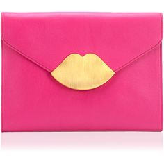 LULU GUINNESS Shocking Pink Leather Small Envelope Clutch ($465) ❤ liked on Polyvore