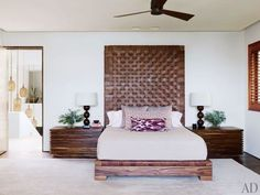 woven leather headboard/end tables at George Clooney's Los Cabos home