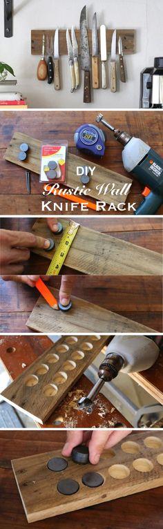DIY Rustic Wall Knife Rack