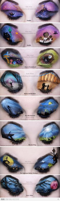 Disney Make-up... WAY TOO MUCH TIME. I would never do this but I think its so creative!