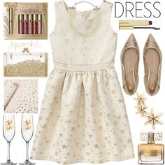 Perfect Party Dress by grozdana-v on Polyvore featuring Gap, Shoes of Prey, Sarah & Sebastian, Kenneth Jay Lane, Stila, Kevyn Aucoin, Givenchy, Sugar Paper and partydress