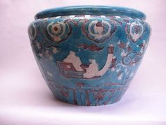 Antique Chinese Fahua style Turquoise and Aubergine  glazed Jardiniere