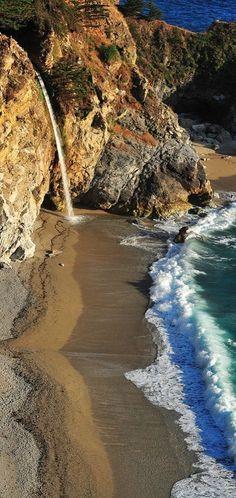McWay Falls At Big Sur, California. Mcway Fall, Big Sur California, States Parks, The Ocean Big Sur California, California Travel, California Coast, Northern California, California States, California Colors, California Living, Beautiful Waterfalls, Beautiful Beaches