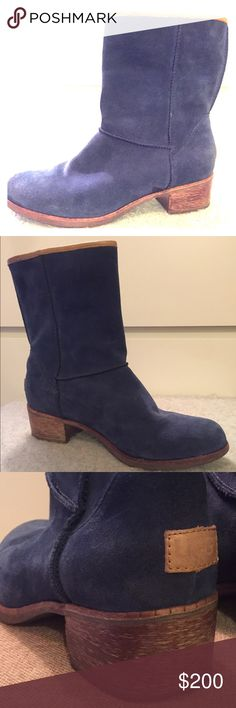 UGG Australia Blue Suede Boots Super comfy! UGG Australia Cyrinda Blue Suede Mid Calf Slip-On Boots.  Gently Used, scuff on heels.         🌺 Offers Welcome! 🌺 UGG Shoes Ankle Boots & Booties