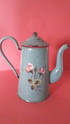 Antique French Enamelled Coffee Pot Sheet Roses Verseuse Emaillee Debut Xxème | eBay