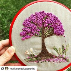 Pin by Simple Embroidery by Lorna on Silk Ribbon Embroidery DesignsEmbroidery hoop Cherry Blossoms, hand embroidered hand made one of a kind pink b.Hoop art Indian Jewellery machine embroidery linen with - Salvabranihow to make french knots embroider Brazilian Embroidery Stitches, French Knot Embroidery, Simple Embroidery, Hand Embroidery Stitches, Silk Ribbon Embroidery, Modern Embroidery, Embroidery Hoop Art, Embroidery Techniques, Floral Embroidery Patterns