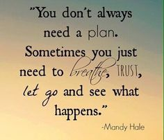 You don't always need a plan. Sometimes you just need to breath, trust, let go and see what happens.