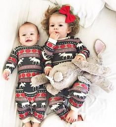 Infant & Dog Moose Fair Maple Union Suite Matching Christmas Pj's - Family Matching Christmas Pajamas - Christmas Morning Pajamas