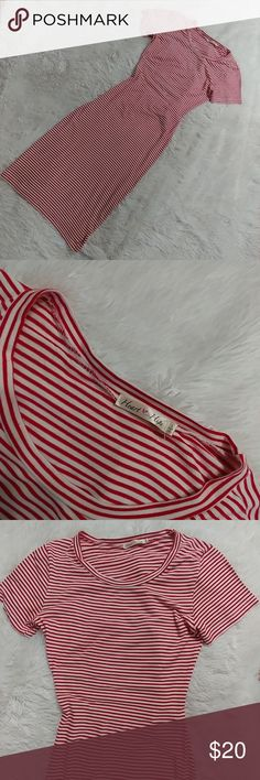 Contour pinstripe dress Cute Contour dress with open back in red and white the dress has stretch is in good condition no rips no stains.  It's a large but it's a junior large. heart hips Dresses Midi