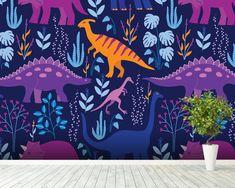 Dinosaurs Dark mural wallpaper room setting