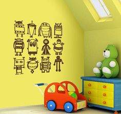Hey, I found this really awesome Etsy listing at https://www.etsy.com/listing/85056335/robots-wall-decal-removable-multiple
