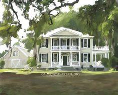 Custom Home Portrait  Hand Painted Art 20x24 by AnastassiaArt, $250.00