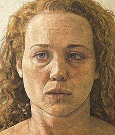 """Georgia"" - Antony Williams, egg tempera, 2009 {figurative art female head woman face portrait cropped painting} antony-williams.com"