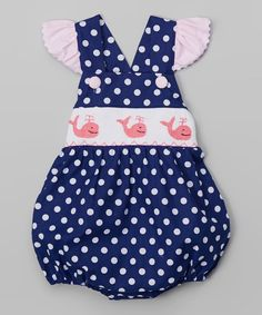 Smocked or Not Navy Polka Dot Whale Smocked Ruffle Bodysuit #zulily