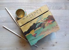 Vintage Recipe Box, Wood Recipe Box, Oriental Scene, Wood Carving Box, Japan, Vintage Nevco Box, Kitchen Collectibles, Mid Century Kitsch by recreated1 on Etsy https://www.etsy.com/listing/163874979/vintage-recipe-box-wood-recipe-box