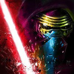 Kylo Ren from Star Wars mixedmedia by Patrice Murciano Murciano Art, Patrice Murciano, Star Wars Kylo Ren, Drawing Artist, Sculpture, Learn To Paint, Star Wars Art, Michel, Dark Knight