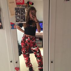 red camo trousers so mad love these just need p have been adjusted to around W26 but fit smaller w belt and have ties on ankles❤️ pm me or instant buy & international shippings on