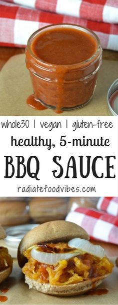 Clean eating this summer is quick and easy with this 5 minute whole30 recipe for sweet & smoky bbq sauce. Gluten-free and vegan recipes like this promote a healthy lifestyle and weight loss. No added sugar, clean eating and delicious!