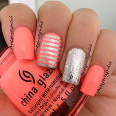 Perfect coral color for nails. Get Nails, Fancy Nails, Love Nails, How To Do Nails, Fabulous Nails, Gorgeous Nails, Pretty Nails, China Nails, Uñas Fashion