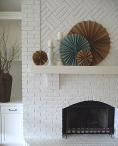 Design for filling in arch in fireplace and white painted brick #LTDH
