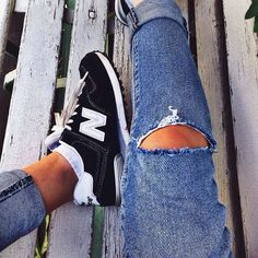Kicking back in our lived-in favourites #denim #574 #newbalance