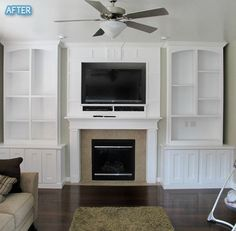 tv over fireplace w/built in cabinets and shelves. Fireplace Built Ins, Fireplace Surrounds, Fireplace Design, Fireplace Ideas, Fireplace Mantel, Beach Fireplace, Basement Fireplace, Fireplace Decorations, Bedroom Fireplace