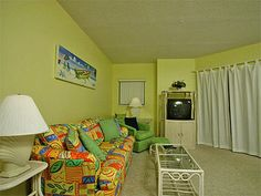 Cheery colors add to the fun of your next vacation at Gulf Shores Plantation 5609 in Fort Morgan, AL. http://www.meyerre.com/property/Gulf_Shores_Plantation_5609 #beach #vacation #FortMorgan #GulfShores