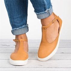 0be6d4300daab7 Plus Size Sandals Round Toe Shoes with Adjustable Buckle -  JustFashionNow.com Casual Shoes