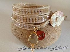 Product - Hand made beaded leather wrap and stretchy bracelets