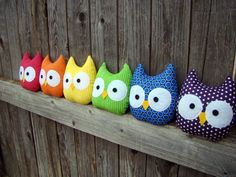 mini owl plush, stuffed owl rainbow, set of 6. $42.00, via Etsy.