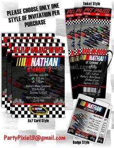 Nascar Birthday Invitations  5X7 Post Card by PartyPixiePrintables, $10.00