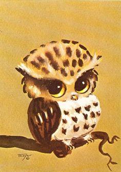 Vintage 60s CUTE Big Eyed Owl Art Print by Thayer