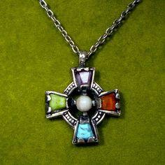 Celtic Quadrate Christian Cross Pendant on by VintageStarrBeads